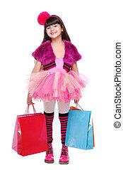 Lleno, compras, Longitud, retrato, niña, feliz