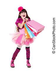Lleno, compras, Longitud, retrato, niña, sorprendido