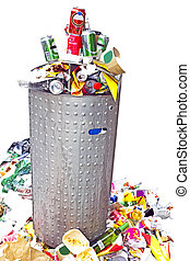 lleno, contenedor, basura
