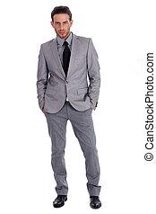 lleno, empresa / negocio, exitoso, lenth, traje, hombre, ...