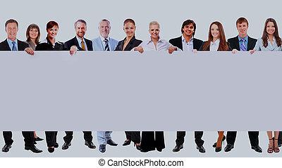 lleno, empresarios, muchos, aislado, fondo., longitud, tenencia, blanco, blanco, bandera, fila
