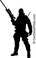 lleno, especial, armamento, sajeret., silueta, ksk, realista, gru, posición, ejército, fuerzas, arriba, tal, aislado, macho, soldado, equipo, marinos