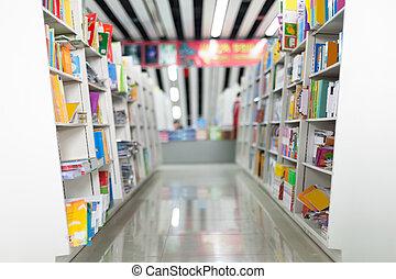 lleno, estantes, biblioteca, libros, pasillos, público