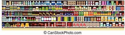 lleno, estantes, comidas