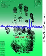 lleno, -, handprint, biometric, exploración