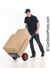 lleno, house., cajas, joven, longitud, mudanza, transportar, cartón, camión de mano, deliveryman