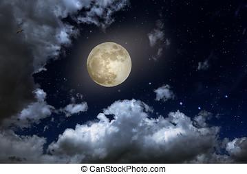 Lleno, luna, noche