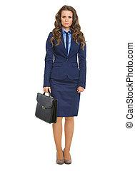 lleno, maletín, empresa / negocio, longitud, retrato de mujer, serio