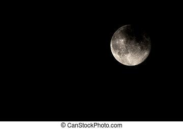 lleno, menguante, luna, oscuridad, cubierto, uno, día, nube,...