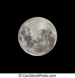 lleno, meridional, aislado, luna, hemisferio, negro