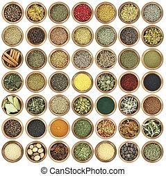 lleno, metal, colección, grande, hierbas, tazones, especias