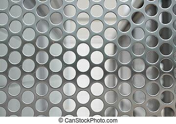 lleno, metal, marco, agujeros, malla, cuadrícula, brillante, plata