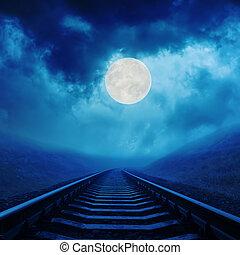 Lleno, nubes, encima, luna, noche, ferrocarril
