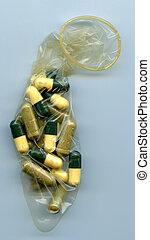 lleno, píldoras, condón