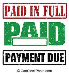 lleno, pago debido, pagado