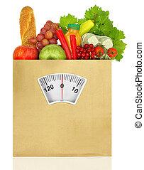 lleno, pesar, bolsa, papel, comestibles, escala
