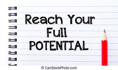 lleno, potencial, texto, alcance, su, escrito, cuaderno,...