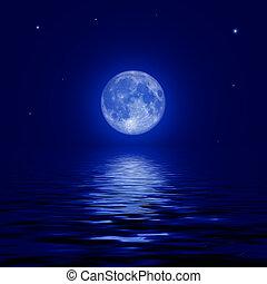 lleno, reflejado, superficie, luna, agua, estrellas