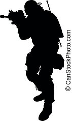 lleno, tal, aislado, soldado, marinos, mano, armamento, especial, completamente, ksk, gru, posición, ejército, sajeret., silueta, realista, fuerzas, arriba, automático, arma de fuego, máquina, macho, equipo