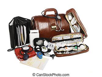 lleno, trabajo, bolsa, doctor, médico, arriba, todo, papel, ...