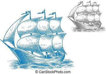lleno, vendimia, vela, océano, debajo, barco