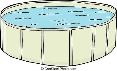 lleno, verde, piscina, natación
