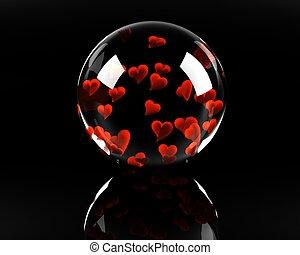 lleno, vidrio, esfera, fondo negro, corazones
