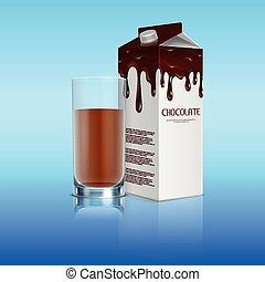 lleno, vidrio, paquete, chocolate, cacao, realista, leche