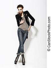 lleno, vogue., informal, postura, longitud, mujer, elegante,...