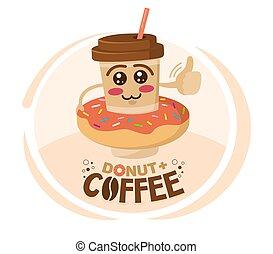 llevó, carácter, donut., caricatura, ilustración, taza, ...