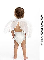 llevando, ángel, espalda, pañal, bebé, alas, vista