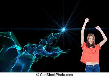 llevando, adolescente, ella, imagen compuesta, brazos, mientras, reír, casual, levantar, ropa