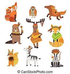 llevando, animales, tribal, ropa, colección