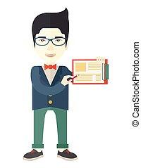 llevando, azul, el suyo, clipboard., chaqueta, asiático, tenencia, hombre, guapo