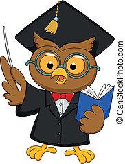 llevando, búho, gi, graduación, uniforme