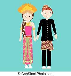llevando, balinés, mujer, bali, pareja, indonesia, ...