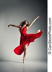 llevando, ballet, encima, gris, bailarín, vestido, rojo