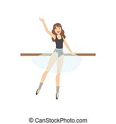 llevando, ballet, warmers, pierna, baile, ejercitar, poste,...