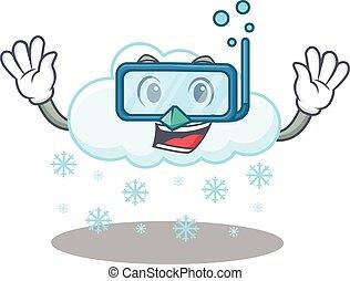 llevando, buceo, diseño, nube, mascota, anteojos, nevoso, ...