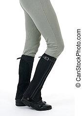 llevando, caballo, mujer, botas, pantalones, equitación