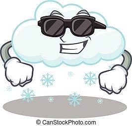 llevando, carácter, fresco, negro, nevoso, nube, anteojos, ...