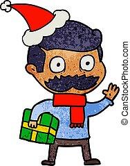 llevando, caricatura, bigote, santa, textured, sombrero,...