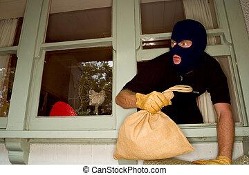 llevando, casa, aburglar, robo, balaclava.