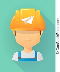 llevando, casco, trabajador, avión papel, seguridad, avatar...