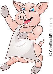 llevando, cerdo, delantal