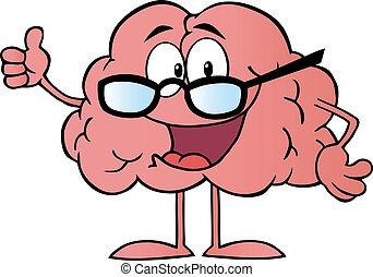 llevando, cerebro, carácter, anteojos