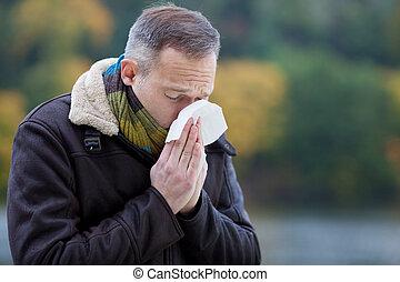 llevando, chaqueta, sufrimiento, frío, hombre