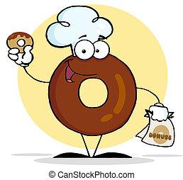 llevando, chef, carácter, sombrero, rosquilla