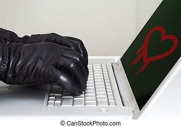 llevando, concepto, heartbleed, hazaña, negro, manos, guantes