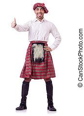 llevando, concepto, tradiciones, falda escocesa, persona, escocés